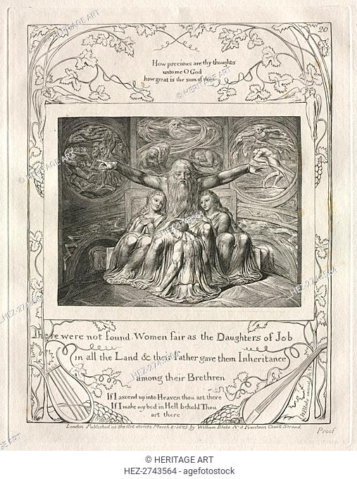 The Book of Job: Pl. 20, There were not found Women fair as the Daughters of Job?, 1825. Creator: William Blake (British, 1757-1827)