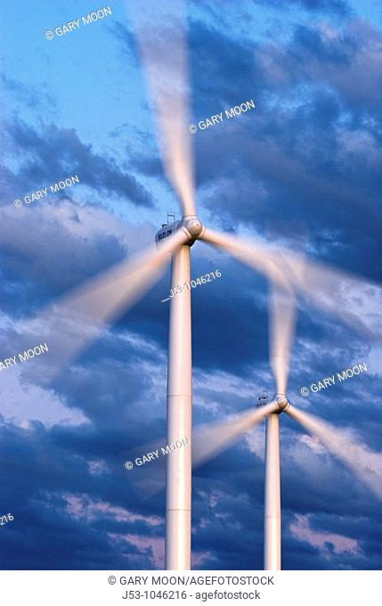 Close up of spinning wind turbines, Uinta County, Wyoming, USA