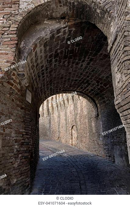 Corinaldo (Ancona, Marches, Italy): the historic town at morning. Walls