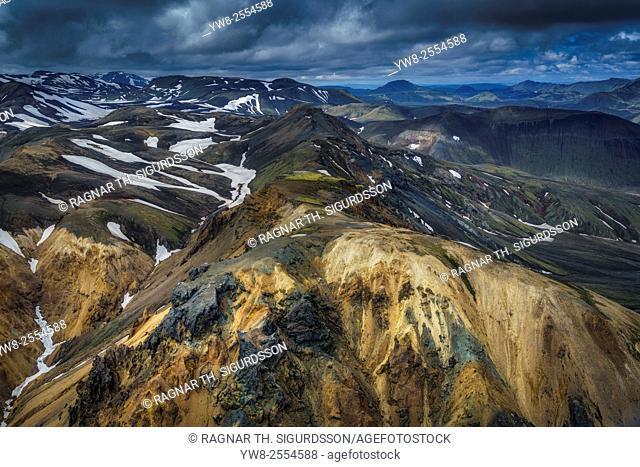Aerial view of Landmannalaugar, Central Highlands, Iceland