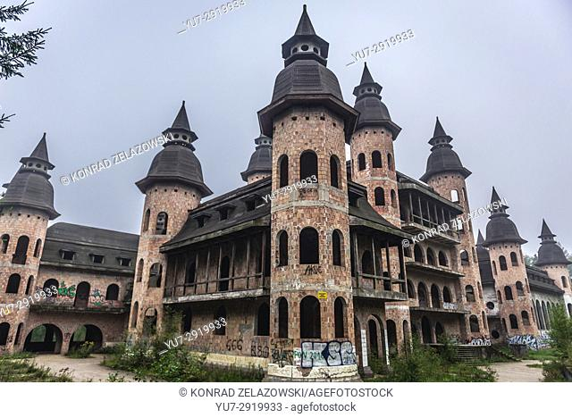 Unfinished castle - unofficial tourist attraction in Lapalice village, Kashubia region in Poland. Building of castle began in 1979