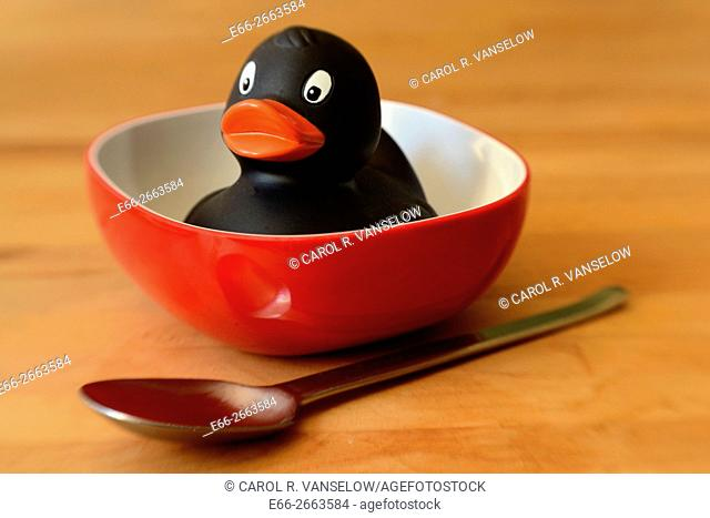 Black rubber duck sitting in soup bowl