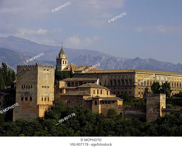 View from the mirador San Nicolas at the Alhambra, Granada, Andalucia, Spain - Granada, Spain, 16/07/2008