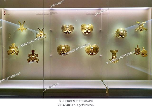 exhibition room in Gold Museum or Museo del Oro, Bogota, Colombia, South America - Bogota, Colombia, 18/08/2017