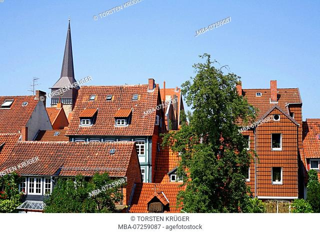 Lamberti Church, roofs of the old town, UNESCO World Heritage Site, Hildesheim, Lower Saxony, Germany, Europe