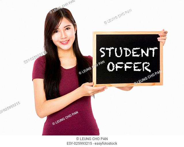 Asian woman hold with the blank chalkboard showing student offer