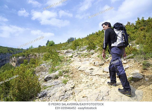 Hiking in Guara Mountains, Huesca Province, Aragon, Spain