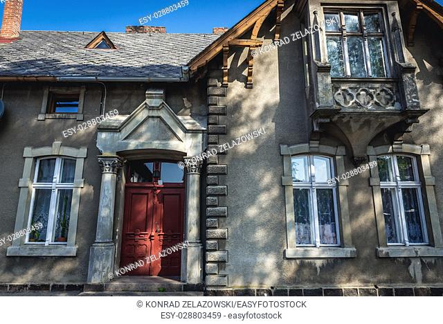 Old tenement house in Kartuzy town in Kashubia region of Pomeranian Voivodeship in Poland
