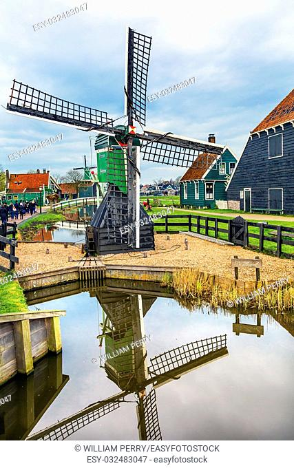 Small Wooden Windmill Zaanse Schans Old Windmill Village Countryside Holland Netherlands. Working windmills from the 16th to 18th century on the River Zaan