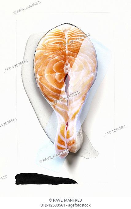 Food art: salmon steak (abstract)