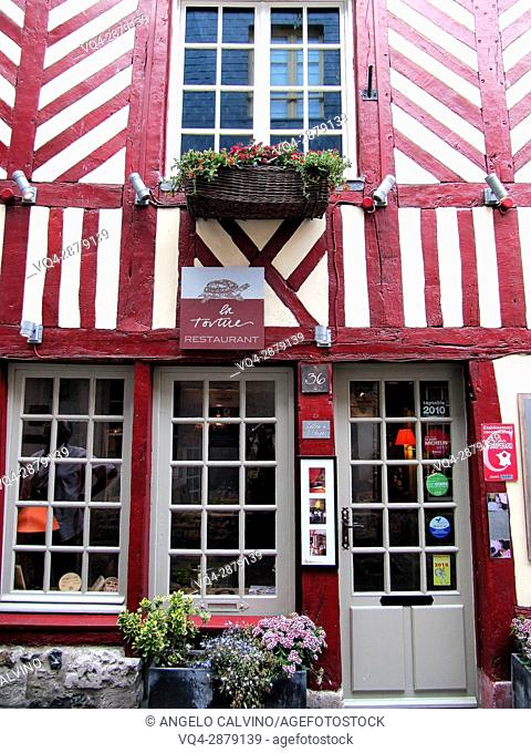 Typical Restaurant, old town of Honfleur, Calvados, Normandy, France.