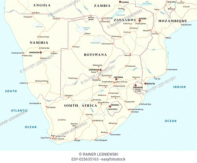 vector road map of states of southern Africa
