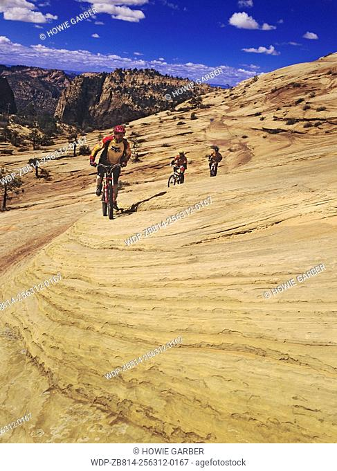 Mountain Bikers enjoy slickrock near Hilsdale, Utah, Vermillion Cliffs area