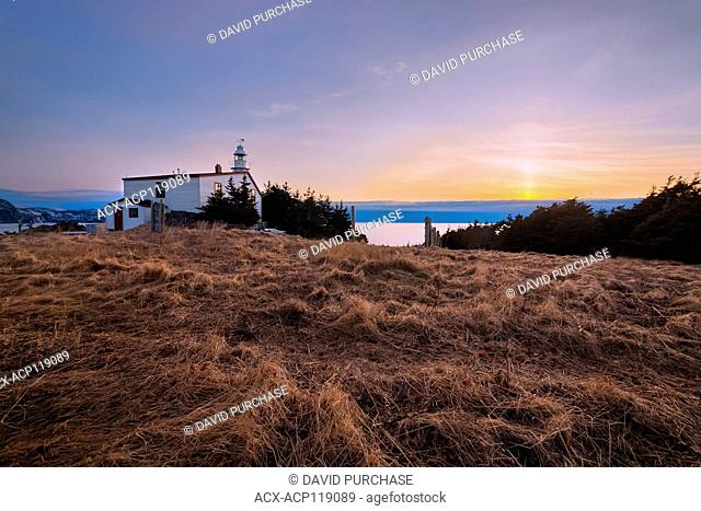 sunset, Lobster Cove Head Lighthouse, Rocky Harbour, Gros Morne National Park, Newfoundland and Labrador