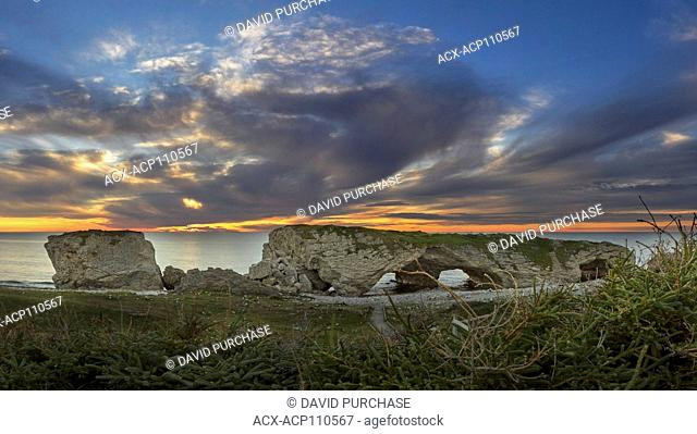 Sunset Through the Arches, Lime Stone rock formation, the Arches Provincial Park, Great Northern Penenusla, Newfoundland & Labrador
