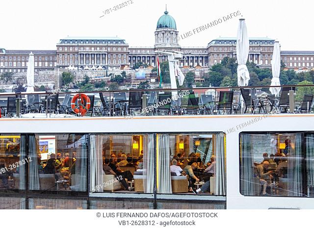 Tourists dining on a cruise boat on the Danube. Budapest, Hungary