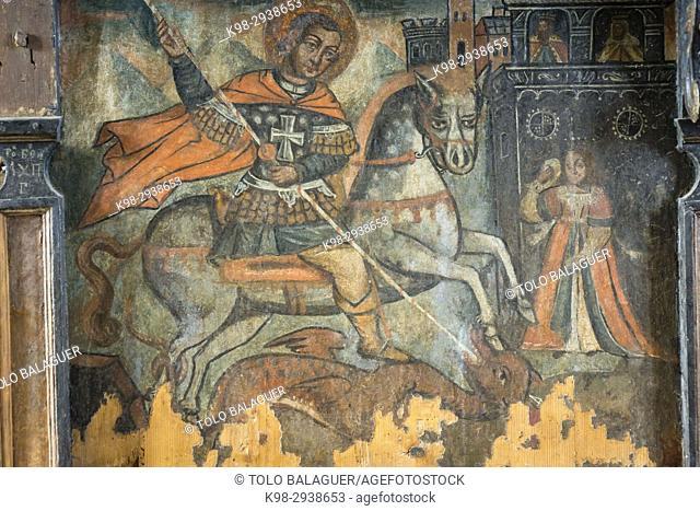San Jorge y el dragon, siglo XVIII, museo de los iconos, castillo Real, Sanok, Podkarpackie Voivodeship, Poland, Eastern Europe