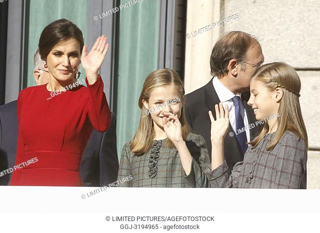 King Juan Carlos, King Felipe, Queen Letizia, Queen Sof'a, Princess Leonor and Princess Sofia attend the celebration of the 40 anniversary of the constitution...