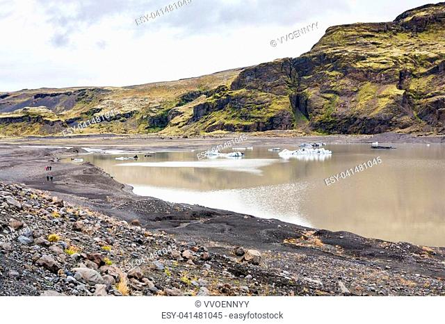travel to Iceland - hiking footpath from Solheimajokull glacier (South glacial tongue of Myrdalsjokull ice cap) in Katla Geopark on Icelandic Atlantic South...