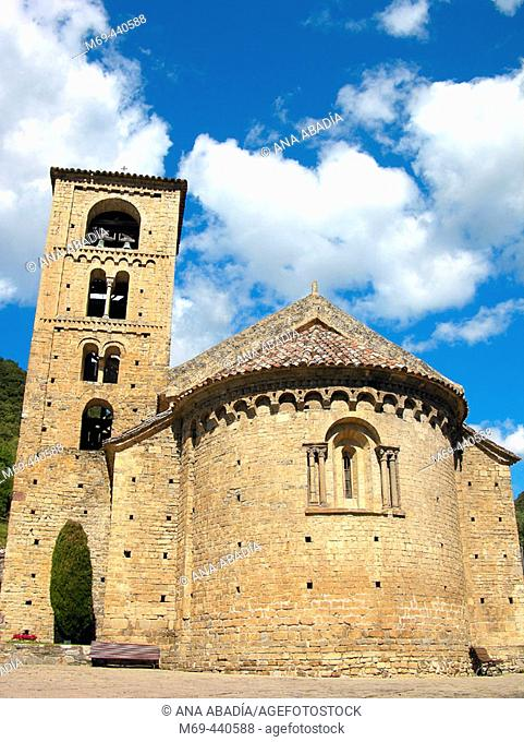 Romanesque church of Sant Cristòfol (s. XII), Beget. Pyrenees mountains, Catalonia, Spain