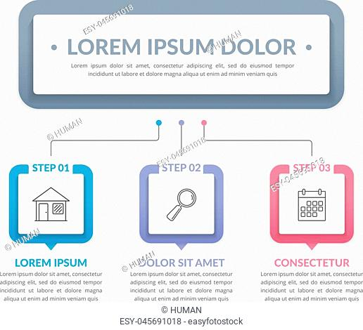 Infographic template with main title and 3 steps or options, workflow, process chart, vector eps10 illustration