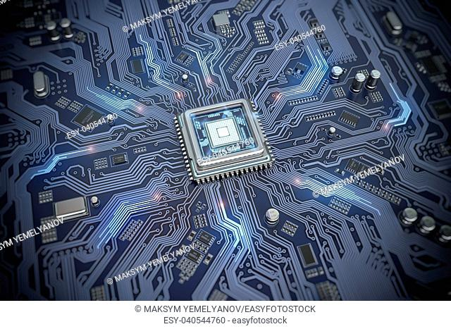 Circuit board with CPU. Motherboard system chip with glowing processor. Computer's technology and internet concept. 3d illustration