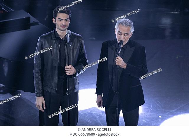 Matteo Bocelli and Andrea Bocelli during the evening of the 69th Sanremo Music Festival. Sanremo (Italy), February 5th, 2019