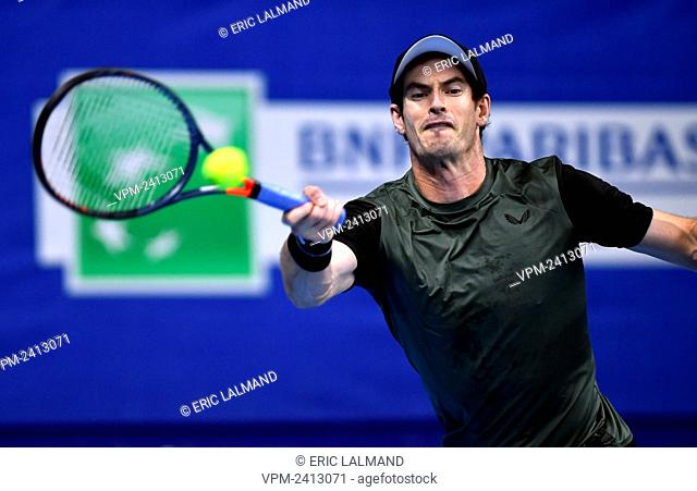 British Andy Murray pictured in action during a game between Belgian Kimmer Coppejans and British Andy Murray, a men's singles first round match at the European...