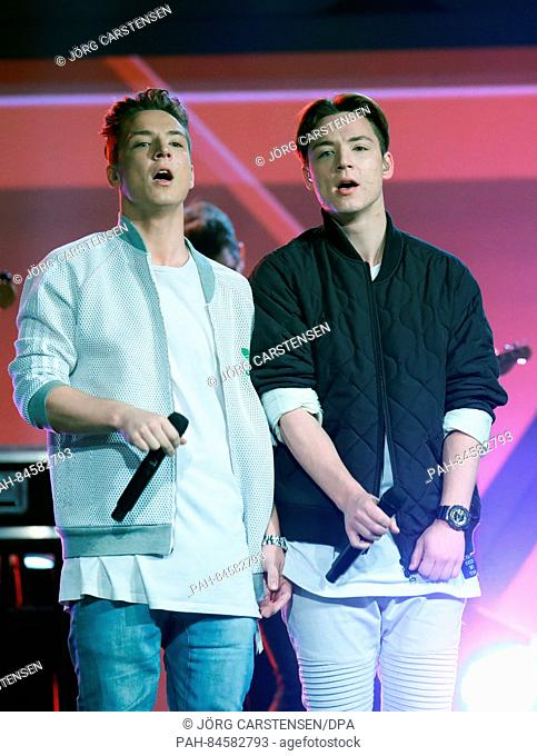 Music and comedy duo Die Lochis (Heiko and Roman Lochmann) on stage at the charity event Tribute to Bambi in Berlin, Germany, 6 October 2016