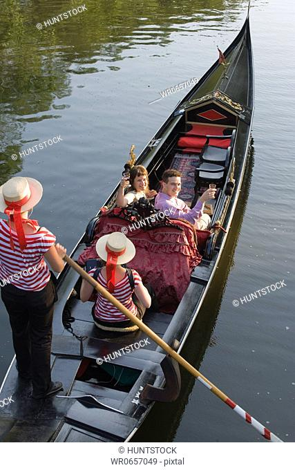 High angle view of a mid adult couple traveling in a gondola