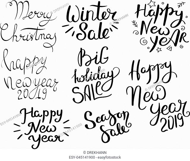 Christmas sale. Set of hand drawn vector lettering phrases. Modern motivating calligraphy decor for wall, poster, prints, cards, t-shirts and other