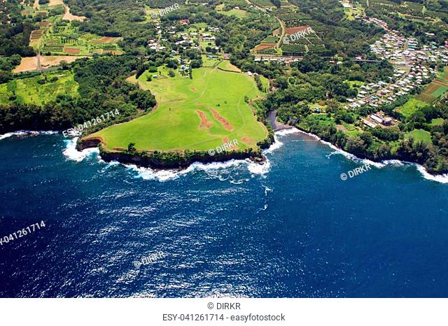 Aerial view of the little town Papaikou north of Hilo on Big Island, Hawaii, USA