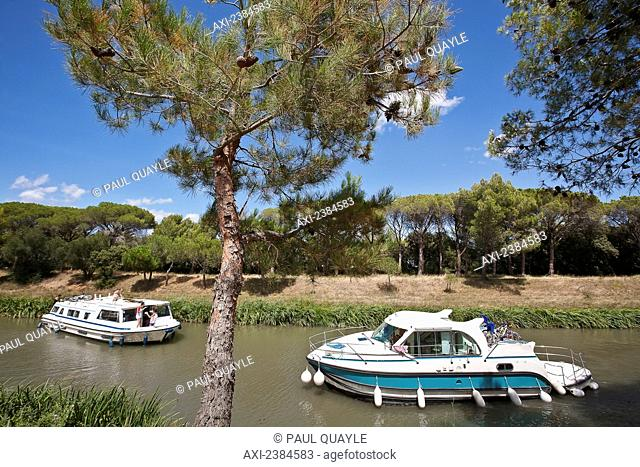 Cruise boats on the Canal du Midi; France