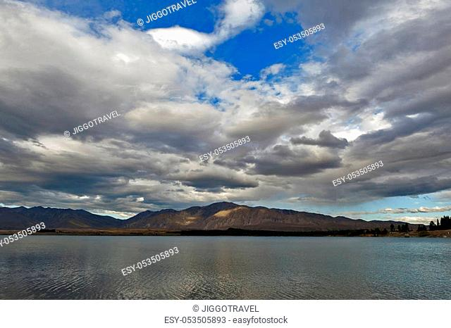 Lake Tekapo, fed at its northern end by the braided Godley River, which has its source in the Southern Alps, South Island of New Zealand