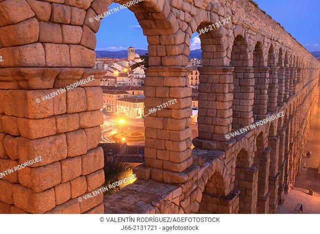 first century Roman aqueduct in the square Azoguejo. Segovia