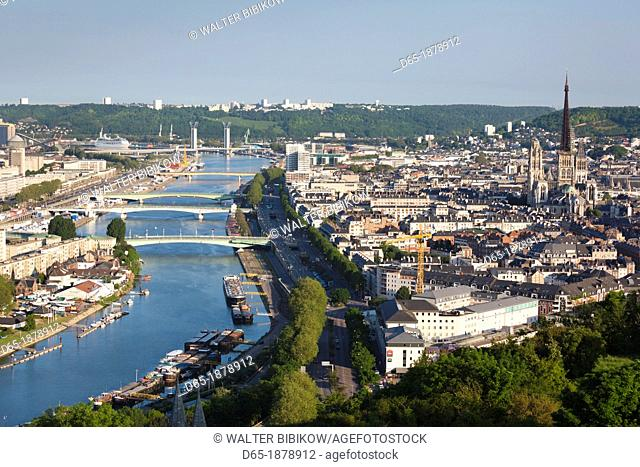 France, Normandy Region, Seine-Maritime Department, Rouen, elevated city view with Cathedral and Seine River, morning