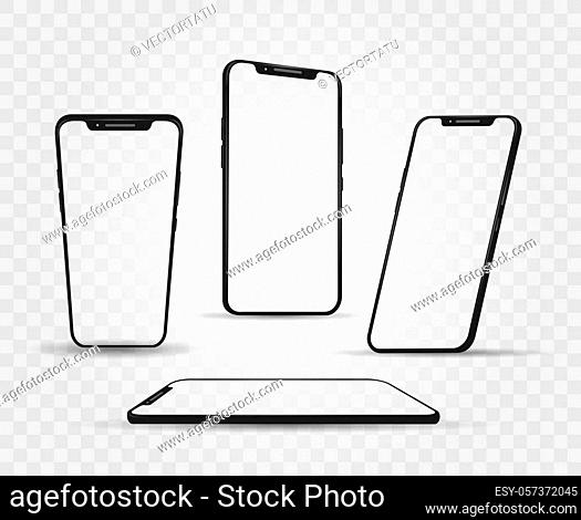 Smartphone angles mockup. Different rotate and perspective touch screen smartphones, mobile screen devices mockup, vector illustration