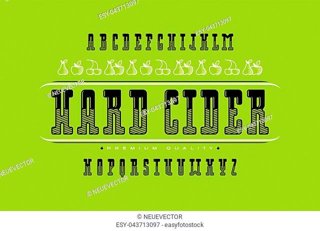 Decorative serif font and hard cider label. Letters for logo and title design