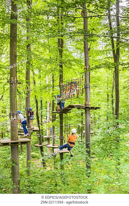 high ropes course in an outdoor adventure park, liechtenstein, baden-württemberg