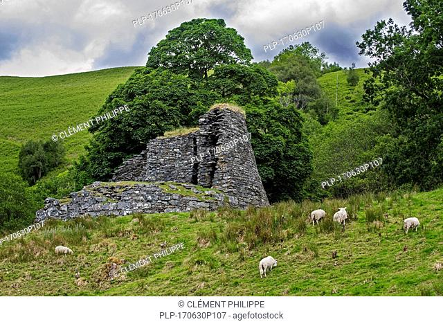 Dun Troddan broch near Glenelg, showing Iron Age drystone hollow-walled structure, Ross and Cromarty, Scottish Highlands, Scotland, UK