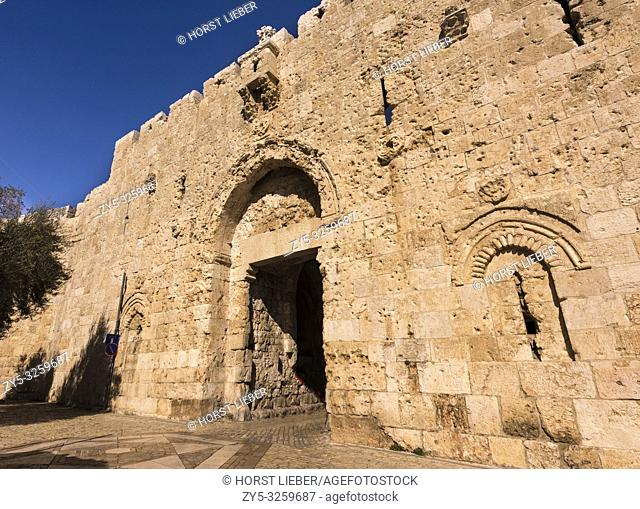 Zion gate in the old city of Jerusalem, Israel, Middle East
