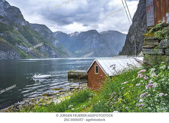 Idyllic view to the Aurlandsfjorden in Undredal, Norway, municipality of Aurland, Sognefjorden, Sogn og Fjordane county
