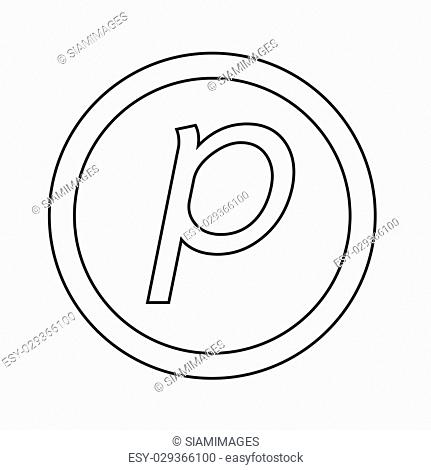 Basic font letter p icon Illustration design