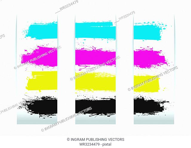 Four colour paper banner cards design elements with copy space
