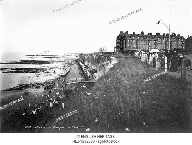 Cliftonville, Margate, Kent, 1890-1910. A view looking down the coastline onto The Sands at Cliftonville with the promenade to the right
