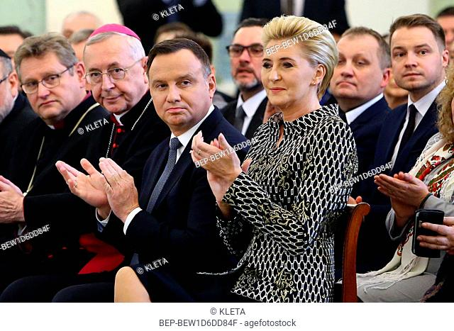 January 18, 2019. Warsaw, Poland. Pictured: President of Poland Andrzej Duda and the first lady Agata Duda