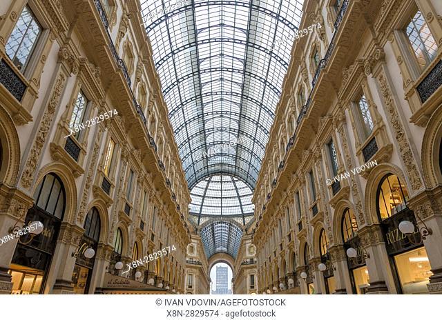 Galleria Vittorio Emanuele II interior, Milan, Lombardy, Italy