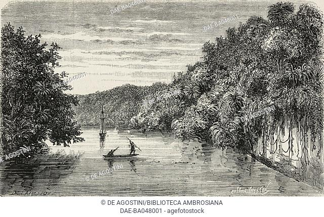 Fishermen on Rio Dulce, Guatemala, illustration from L'Illustration, Journal Universel, No 1397, Volume LIV, December 4, 1869