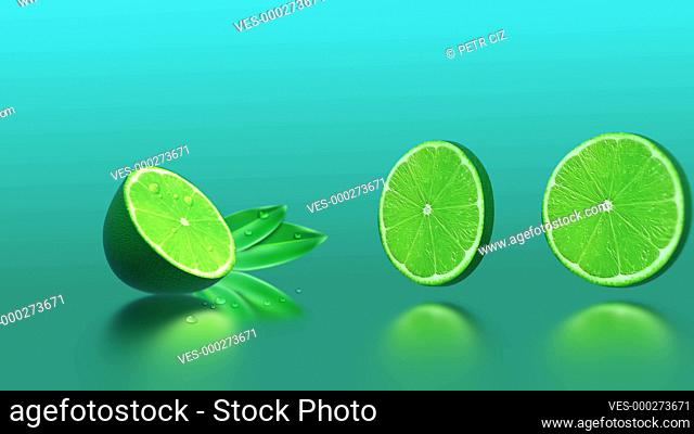 Fresh sliced limes with drops of water. 4K UHD video 3D animation with citrus fruit