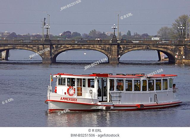 Tourist ship on the Alster, Germany, Hamburg